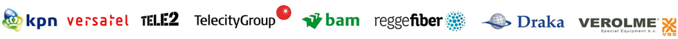 KPN Versatel Tele2 TeleCity BAM ReggeFiber Draka Croon Verolme ABNAmro Rabo European Patent Office Scholt Awater EvoSwitch DeltaTechniek Boskalis Van Oord Agfa